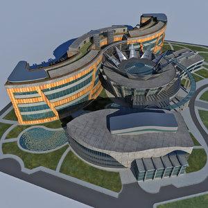 3D model modern design school building