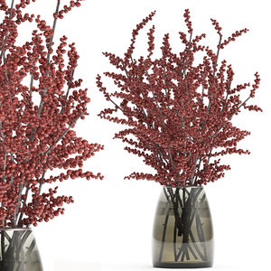 decorative branches vase red 3D