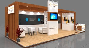 exhibition booth modeled 9x4 3D