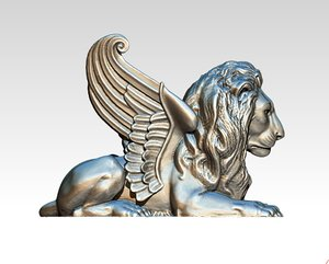 lion wings statue 3D
