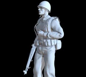 3D soldier ww2 printable model
