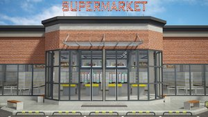 3D supermarket building interior shelfing