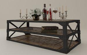 tea table set accessories 3D