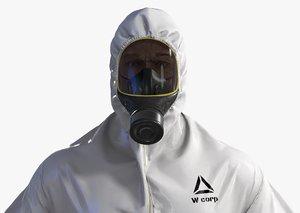 3D realistic hazmat worker suit model