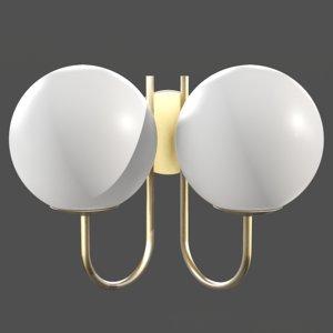 moricio brass milk glass wall 3D model