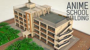 3D anime school building model