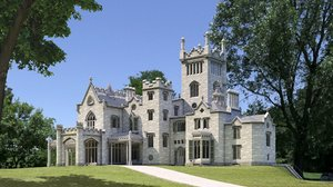 realistic gothic mansion 3D model