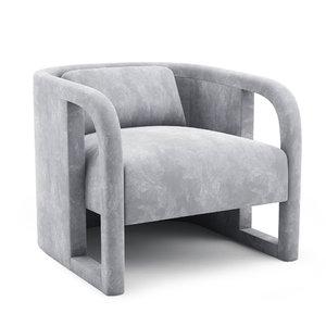 milo baughman curved velvet 3D model