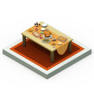 isometric thanksgiving dinner model