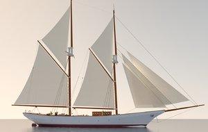 3D schooner sailing