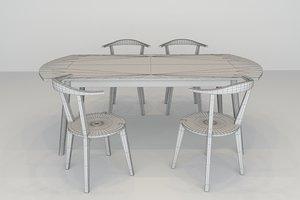 3D dinning wooden set