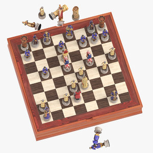 3D chess board set 01