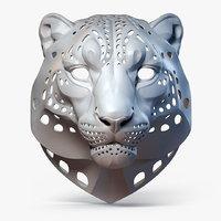 Snow Leopard Mask Sculpture