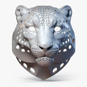 snow leopard animal head 3D model
