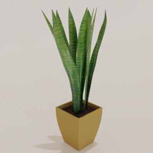 sansevieria plant pot 3D model
