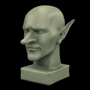 goblin statue head 3D model