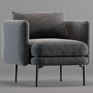 3D auburn chair platinum model