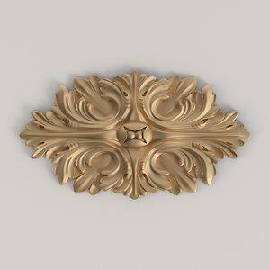 3D carved rosette model