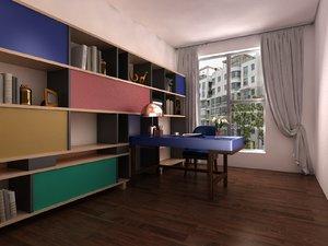 home office furniture set 3D