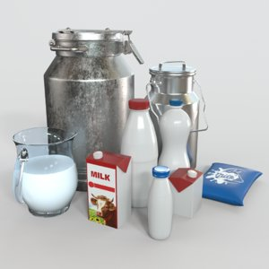 3D milk products bottles