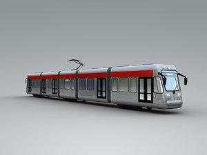 3D bombardier flexity tram rigged model