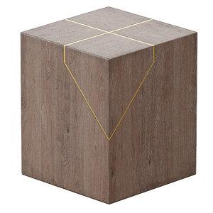 rylan brass-inlaid wood block 3D