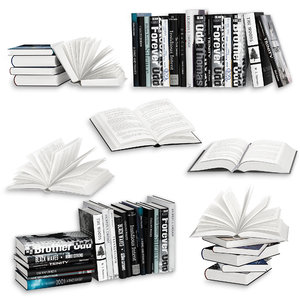 open books set 3D