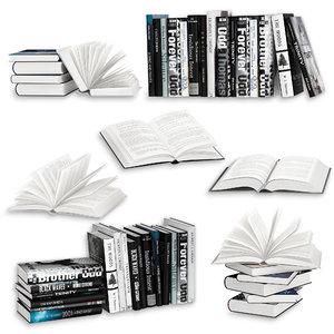 open books set 3D