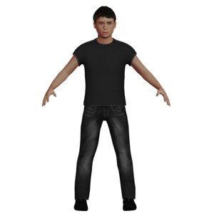 3D white teen boy