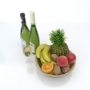 3D model bottle wine glass fruits
