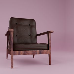 leather wood chair 3D model