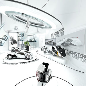 3D model car showroom futuristic