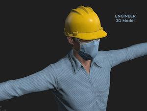 3D engineer mask workman laborer