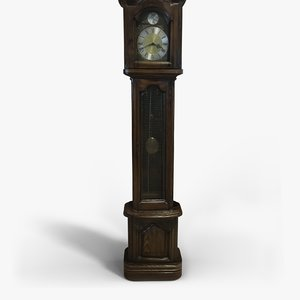 old grandfather clock 3D