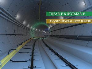 subway railway tunnel 3D