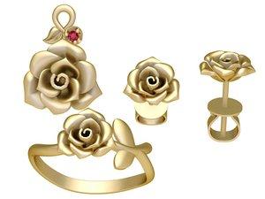 set rose jewelry 3D