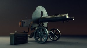 3D model maxim gun