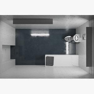 3D model modern prison cell