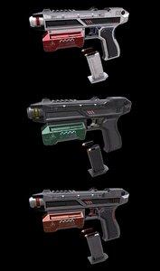 3D sci-fi pistol magazine bullets model
