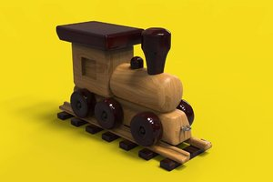 3D toy wooden train