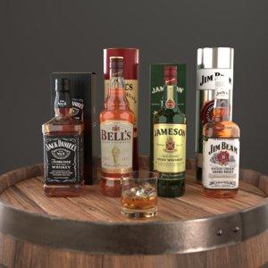 blender set whiskey bottle 3D model
