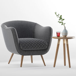 flick accent chair range 3D model