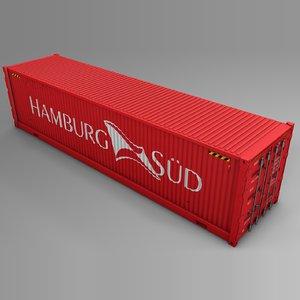 3D hamburg sud cargo container model