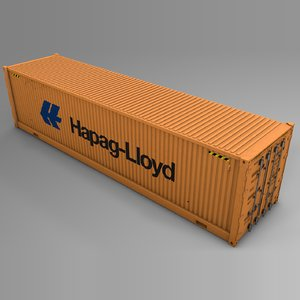 3D hapag lloyd cargo container