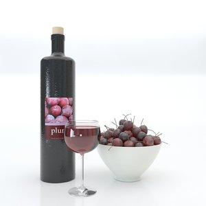 3D bottle wine glass bowl model