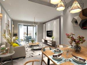 3D living dining room