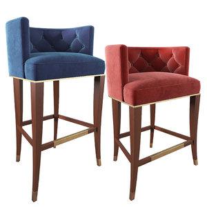 3D model bourbon bar stool counter