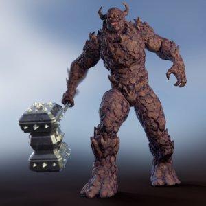 monster - golem 3D model