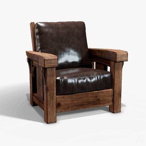 rustic wooden armchair - 3D