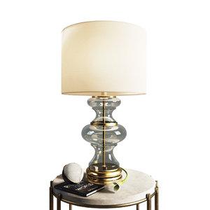 3D model table lamp jasmine glass
